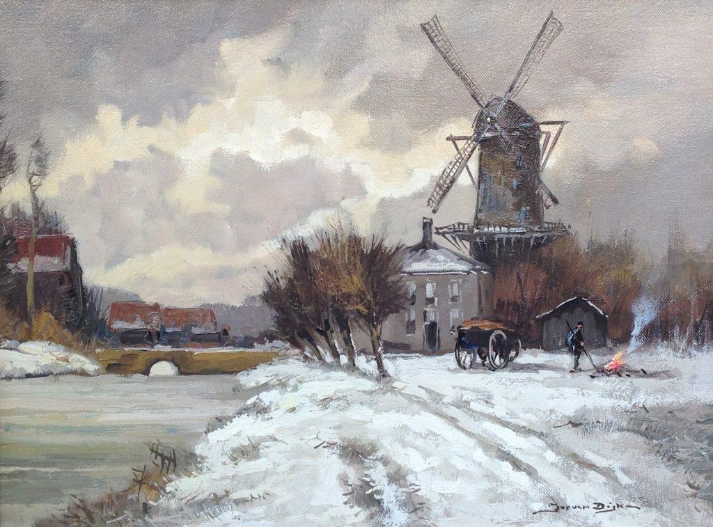 Schilderijen te koop van kunstschilder Jos van Dijk winters dorpsgezicht met molen rechtsonder gesigneerd, Expositie Galerie Wijdemeren Breukeleveen