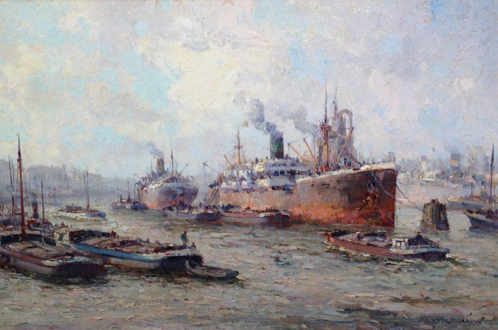Schilderijen te koop van kunstschilder G.J. Delfgaauw Haven Rotterdam olie op doek, doekmaat 41 x 60,5 cm. rechtsonder gesigneerd, Expositie Galerie Wijdemeren Breukeleveen