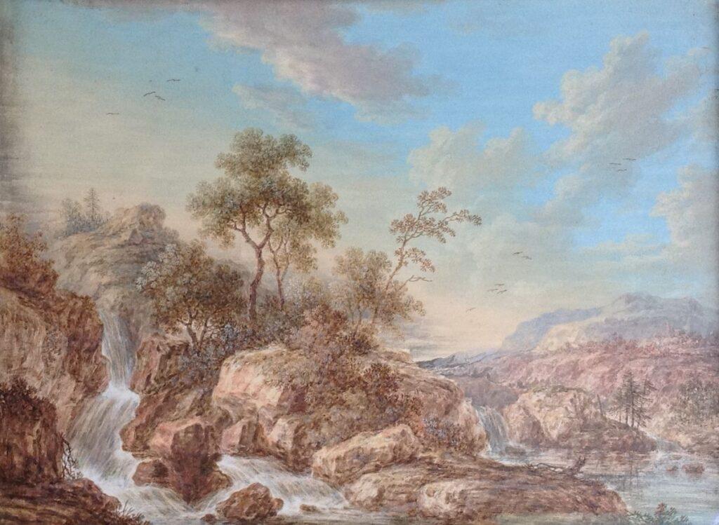 Kunstenaar Abraham Rademaker B8031, Abraham Rademaker Berglandschap met waterval Gouache, Beeldmaat : 18 x 23 cm particuliere collectie
