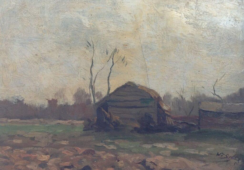 Kunstenaar Willem Steelink (jr.) B8041, W.H Steelink, marouflé 26 x 36 cm, r.o. gesigneerd en gedateerd