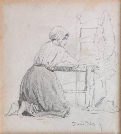 Kunstenaar David Joseph Bles B8057, David Joseph Bles Tekening, 15 x 13,5 cm r.o. gesigneerd