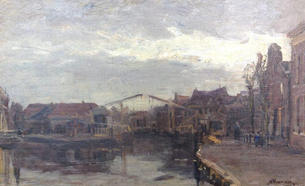 Schilderijen te koop van kunstschilder J.H. Wijsmuller Dubbele ophaalbrug marouflé, doekmaat 29,5 x 49 cm rechtsonder gesigneerd, Expositie Galerie Wijdemeren Breukeleveen