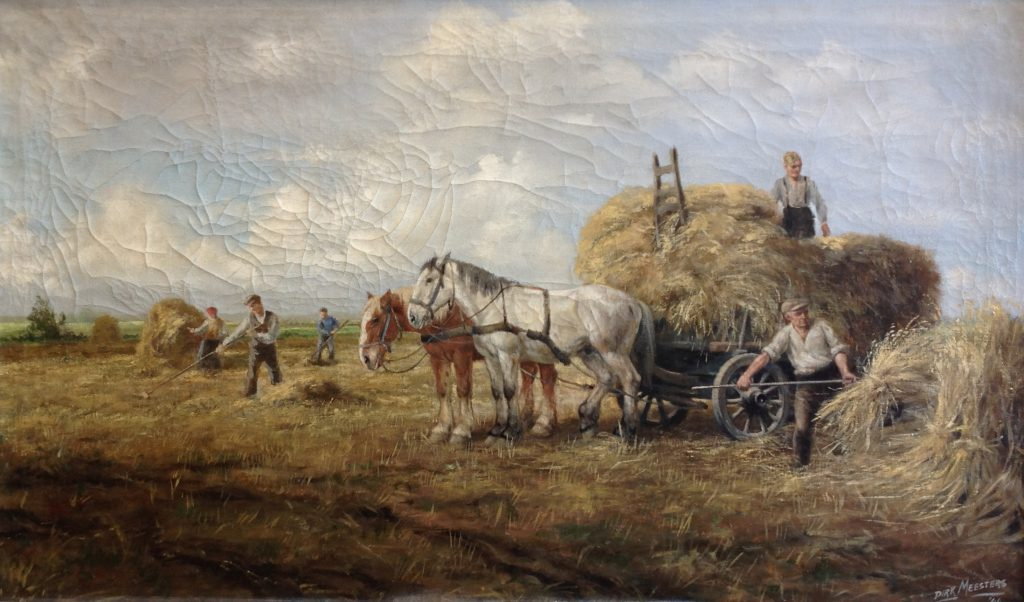 Kunstenaar Dirk Meesters B8069, Dirk Meesters De hooioogst olie op doek, 60 x 100 cm r.o. gesigneerd en gedateerd '44
