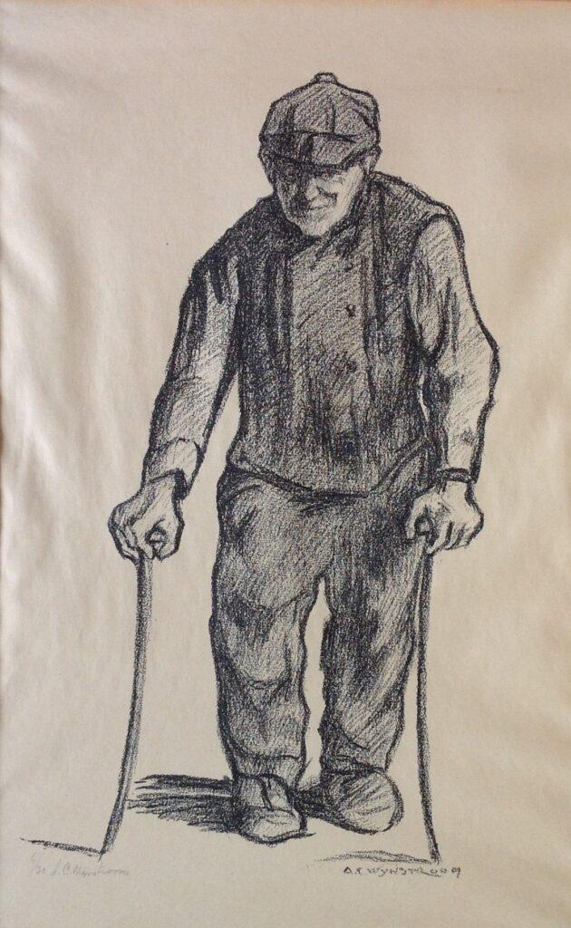 schilderijen te koop van kunstschilder, A.C. Wijnstroom krijttekening, gesigneerd Man met stokken, expositie, galerie wijdemeren breukeleveen