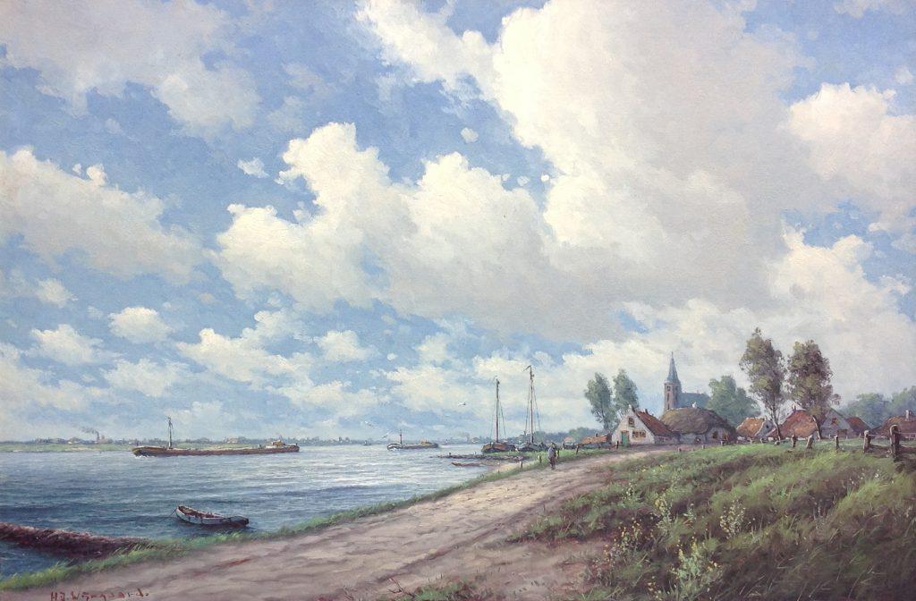 Schilderijen te koop van kunstschilder HJ Wijngaard olie op doek, 60 x 90 cm linksonder gesigneerd, Expositie Galerie Wijdemeren Breukeleveen