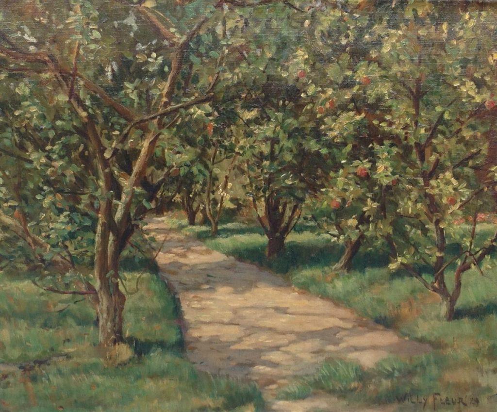 Schilderijen te koop, kunstschilder Willy Fleur olie op doek, doekmaat 43 x 52 cm rechtsonder gesigneerd en gedateerd '29, expositie Galerie Wijdemeren Breukeleveen
