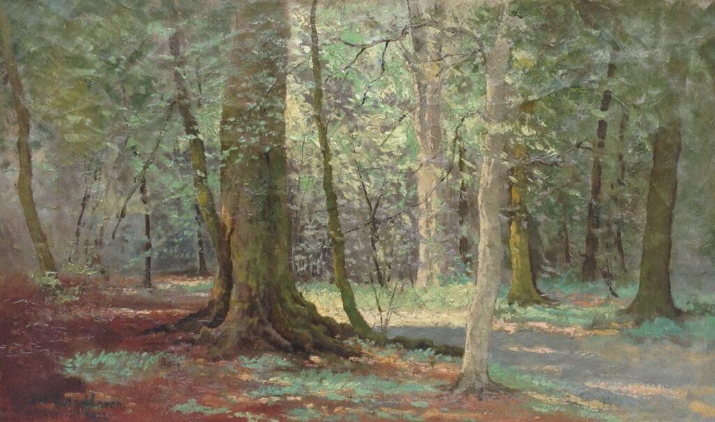 Schilderijen te koop, kunstschilder J.A. Zandleven Herfst olie op doek, doekmaat 38 x 60.5 cm, links onder gesigneerd en gedateerd 1912, Expositie Galerie Wijdemeren Breukeleveen