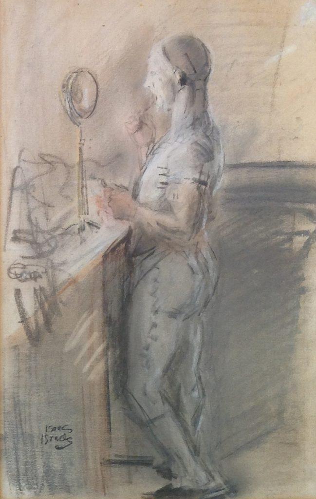 Schilderijen te koop van kunstschilder Isaac Israels 'Zich schminckende clown' pastel, beeldmaat: 25.5 x 39.5 cm linksonder gesigneerd, Expositie Galerie Wijdemeren Breukeleveen