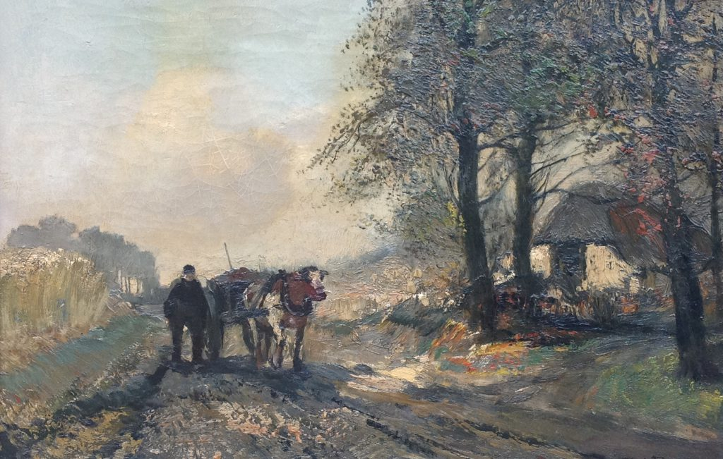 kunst te koop bij Galerie Wijdemeren van kunstschilder Cornelis de Bruin Boer met trekwagen olie op doek, 41 x 61 cm rechtsonder gesigneerd