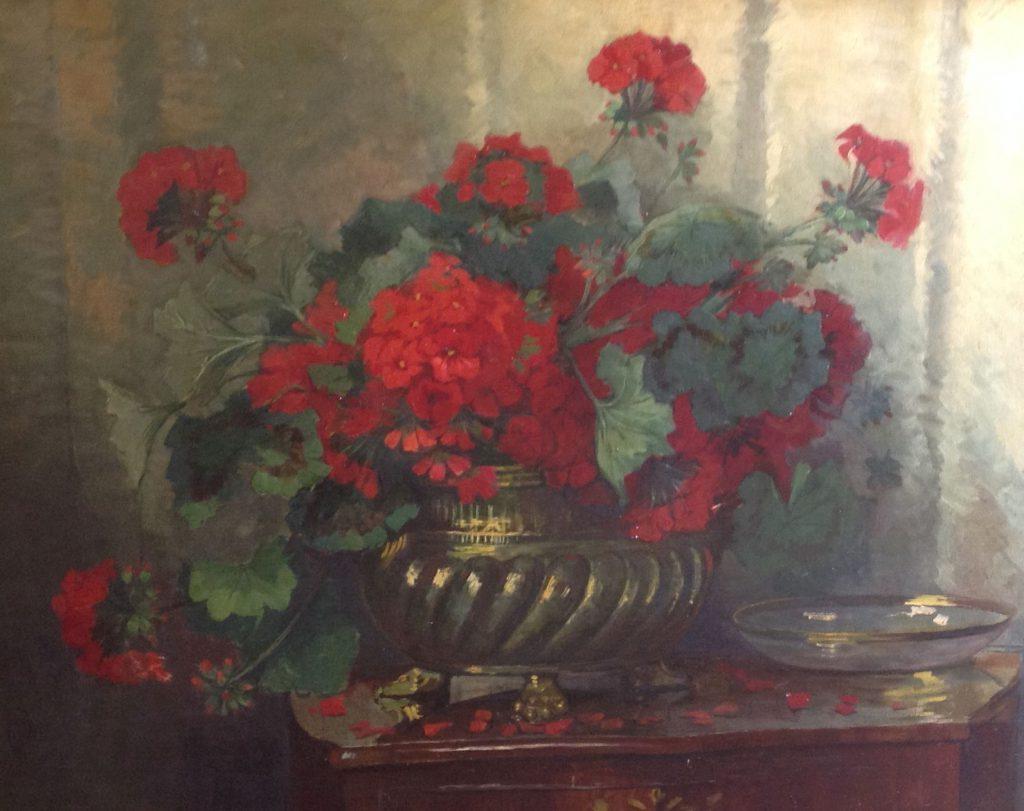 Schilderijen te koop, kunstschilder Jeannette Slager bloemstilleven met geraniums olie op doek, gesigneerd, Expositie Galerie Wijdemeren Breukeleveen