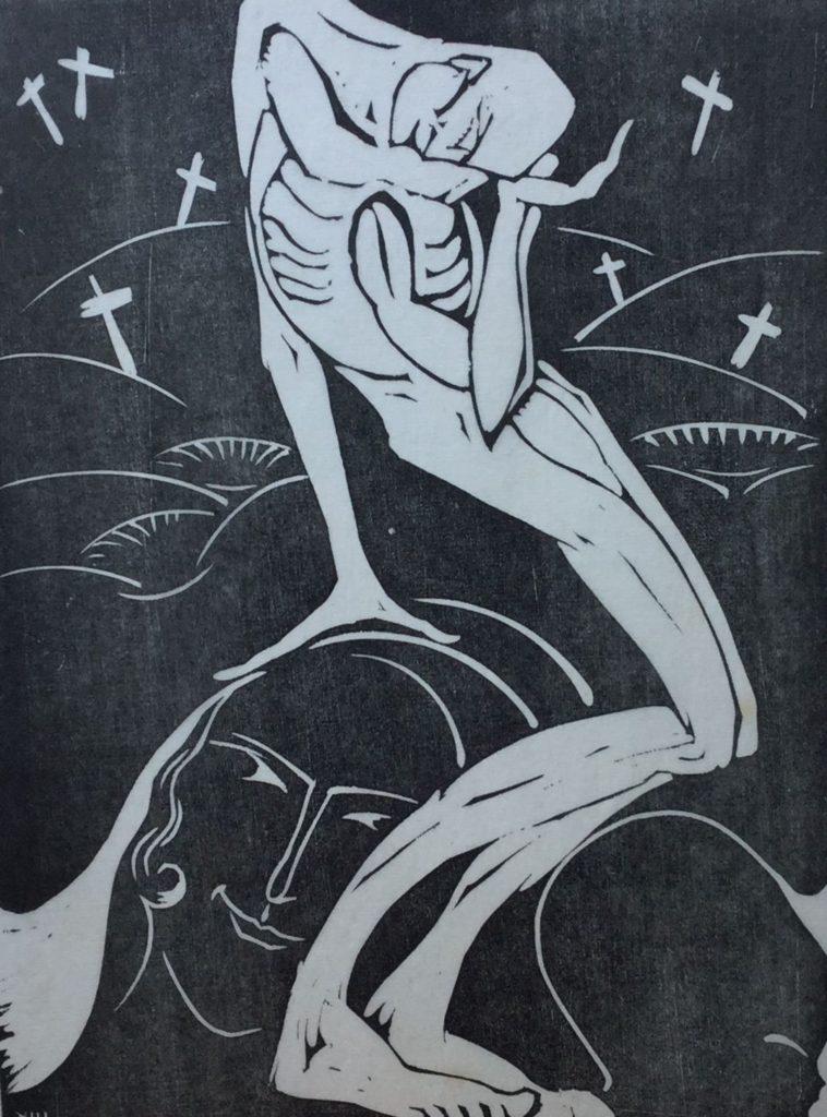 Kunst te koop bij Galerie Wijdemeren van graficus Hildo Krop Dodenakker houtsnede, 24 x 18 cm