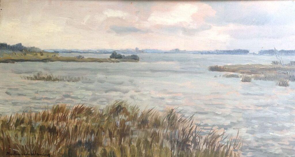 Kunstenaar Martin van Waning B814A, Martin van Waning, olie op paneel, 29 x 53 cm
