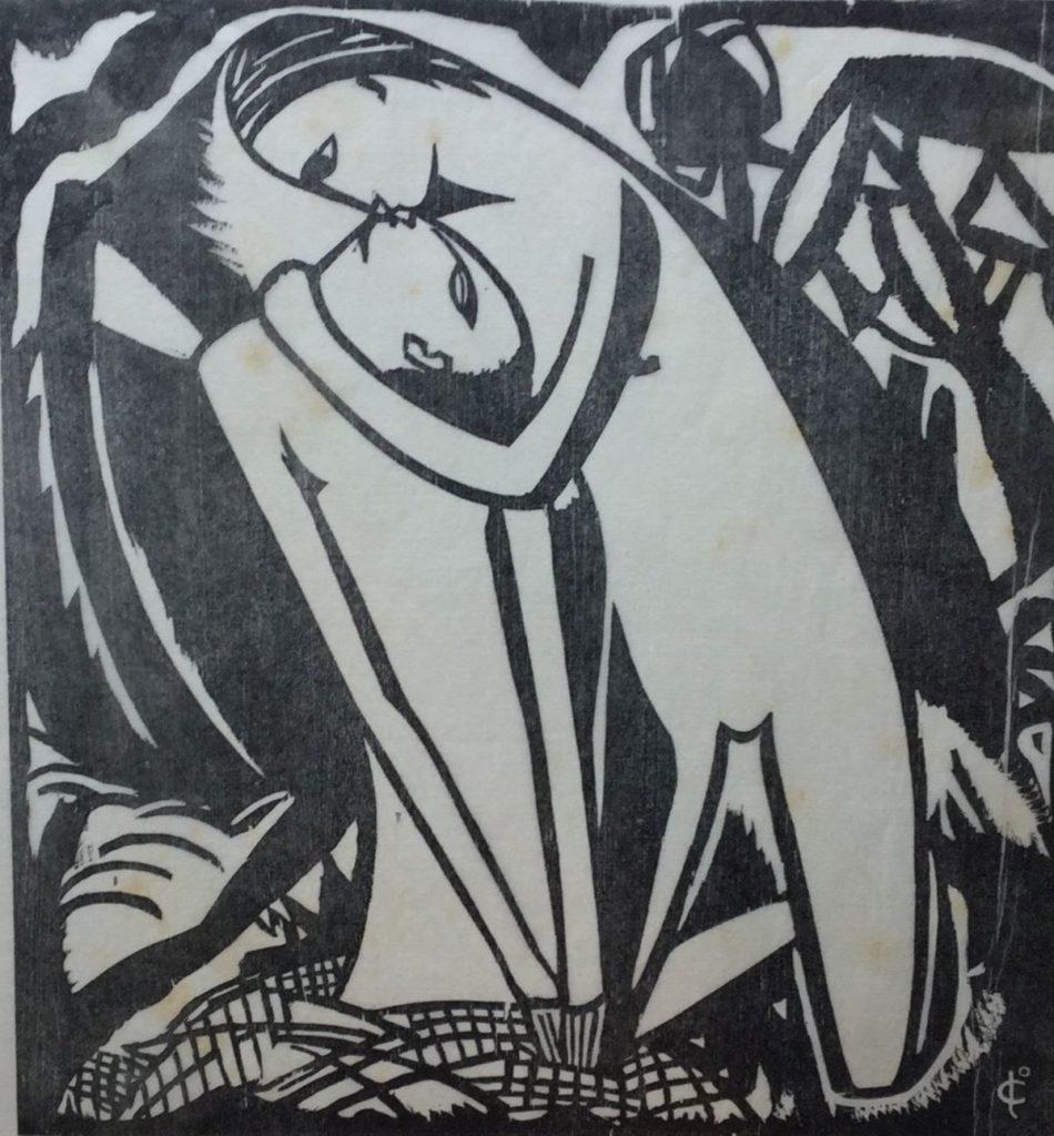 Kunst te koop bij Galerie Wijdemeren van kunstenaar Josef Cantré Er waren twee koningskinderen gesneden in coromandel, lino, 23 x 22 cm