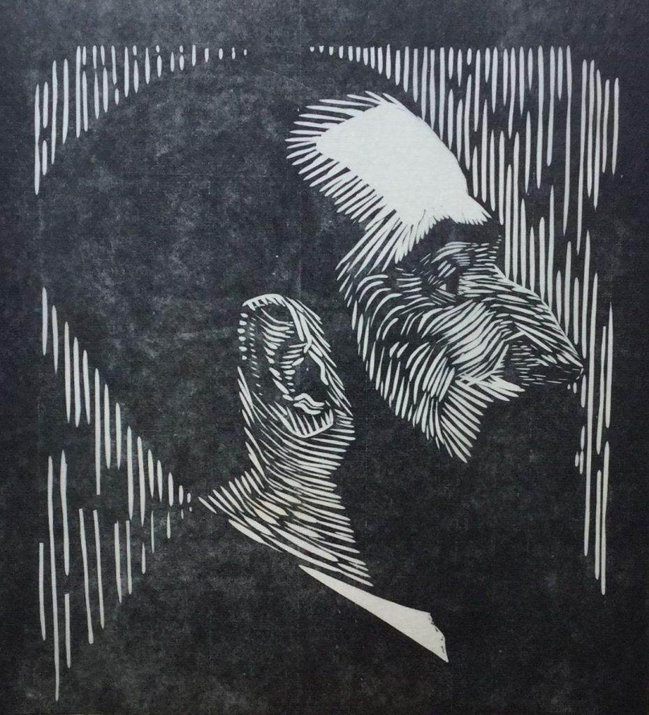Kunst te koop bij Galerie Wijdemeren van kunstenaar Jessurun de Mesquita Piet Vorkink gesneden in peren-kops, lino, 24 x 22 cm