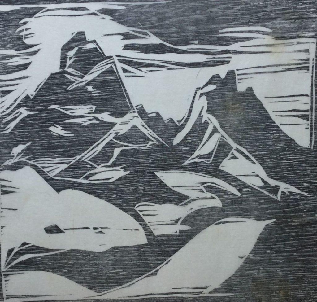 Kunst te koop bij Galerie Wijdemeren van graficus A.H.W. Filarski Berglandschap gesneden in eiken, lino, 22 x 23.5 cm