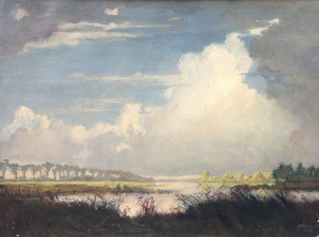 Kunst te koop bij Galerie Wijdemeren, A. Potgieter Langs de vaart olie op doek, 51.5 x 70 cm rechtsonder gesigneerd
