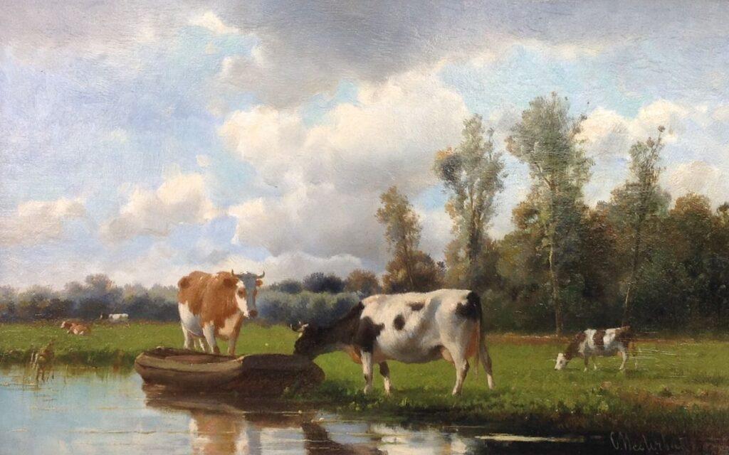 Schilderijen te koop, kunstschilder Cornelis Westerbeek olie op paneel 25.5 x 41 cm rechts onder gesigneerd, expositie Galerie Wijdemeren Breukeleveen