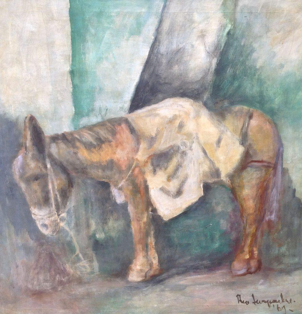 Schilderijen te koop van kunstschilder Swagemakers Ezeltje olie op doek, Expositie Galerie Wijdemeren Breukeleveen