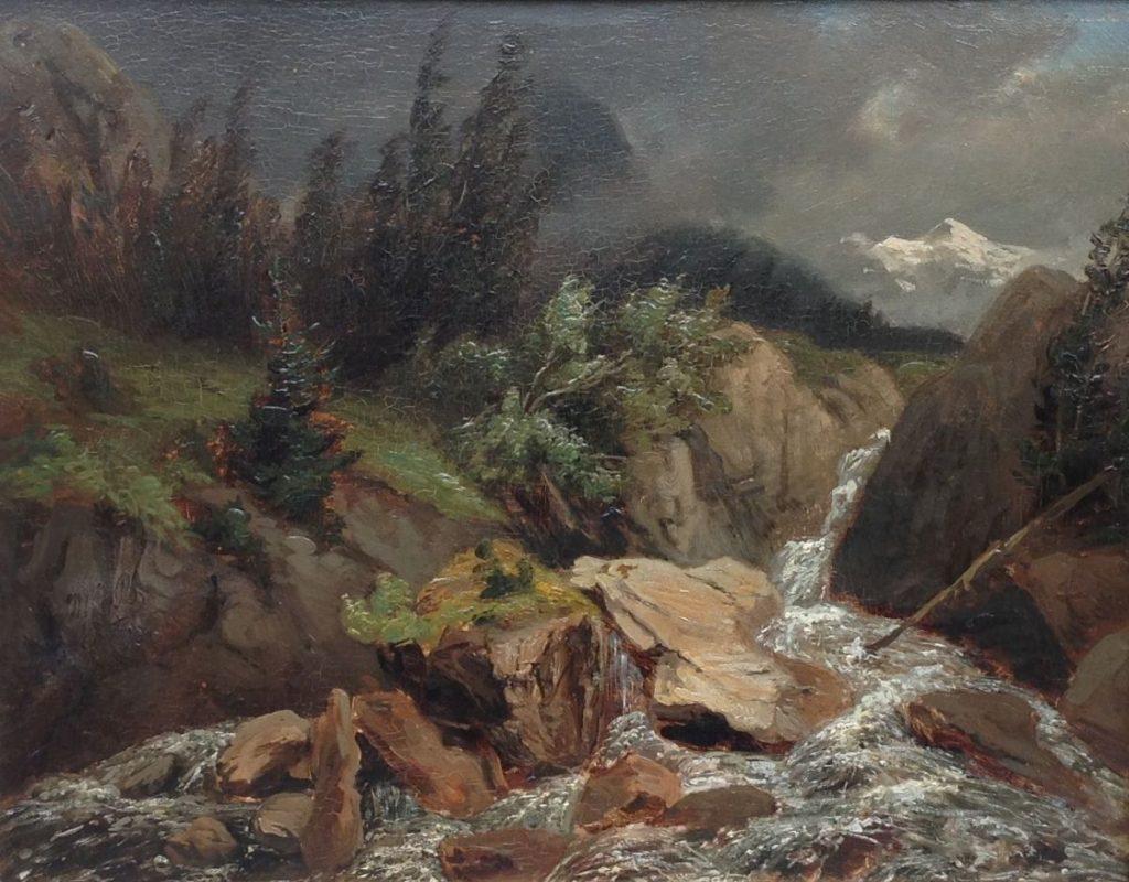 Schilderijen te koop van kunstschilder W.J. van den Berghe Berglandschap met rivier olie op paneel, 38,5 x 49 cm linksonder monogram, Expositie Galerie Wijdemeren Breukeleveen