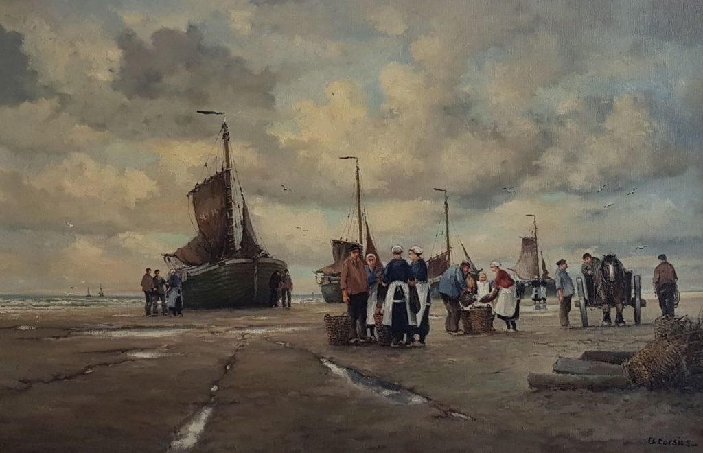 Schilderijen te koop, kunstschilder FL Corsius bomschuiten op het strand olie op doek, 80 x 120 cm gesigneerd, Expositie Galerie Wijdemeren Breukeleveen
