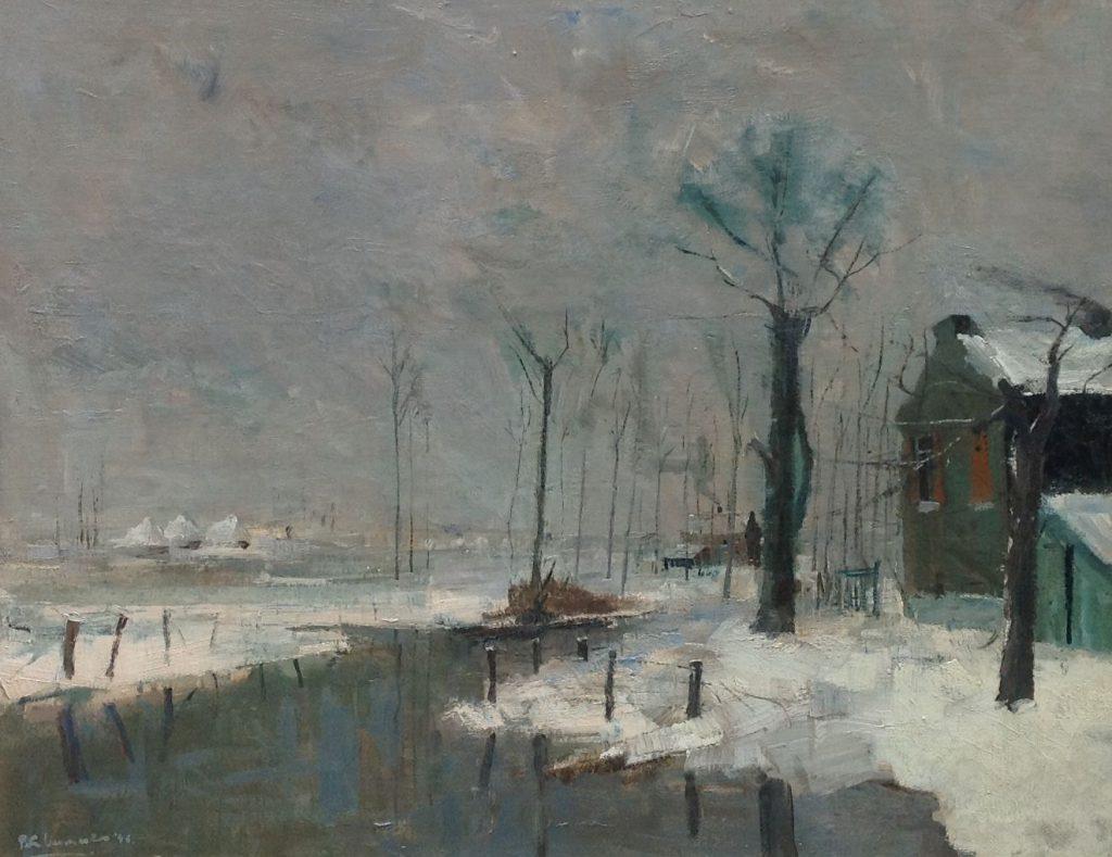 Kunstenaar Petrus Hubertus Antonius Maria Vermeulen B837, Petran Vermeulen, olie op doek Winter, Limburgs Landschap titel: ondergelopen land bij Heugen