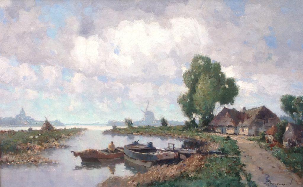 Schilderijen te koop van kunstschilder G.J. Delfgaauw Thuiskomst in Voorburg olie op doek, doekmaat 50 x 80 cm. rechtsonder gesigneerd, Expositie Galerie Wijdemeren Breukeleveen