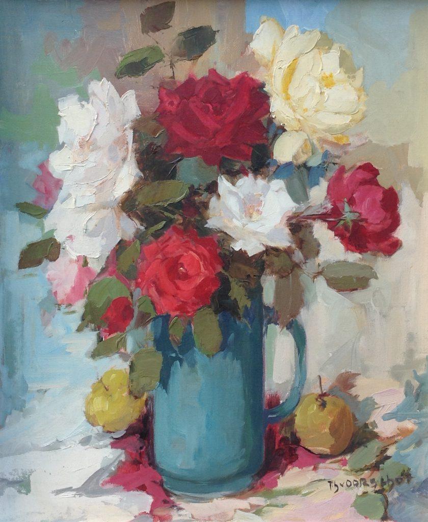 Kunstenaar Theo van Oorschot B8412, Theo van Oorschot Bloemstilleven olie op doek, 60 x 50 cm verkocht