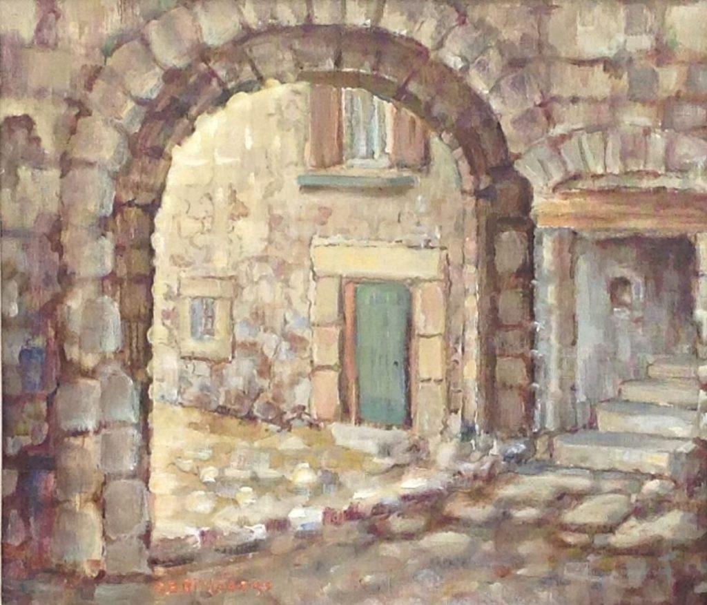 Kunst te koop bij Galerie Wijdemeren van kunstschilder G.B. Olislagers Font Romeu Zuid Frankrijk olie op doek, 35.5 x 40 cm linksonder gesigneerd