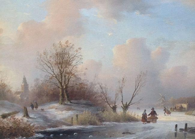 Kunstenaar J.F. Hoppenbrouwers B842 J.F. Hoppenbrouwers Romantisch ijsgezicht olie op paneel, gesigneerd verkocht