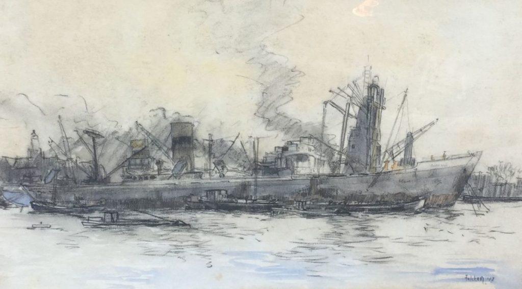Schilderijen te koop van kunstschilder Willem Fekken gemengde techniek, beeldmaat 27.5 x 46.5 cm stoomschepen in de haven aan het IJ te Amsterdam, 1947 rechtsonder gesigneerd en gedateerd 47, Expositie Galerie Wijdemeren Breukeleveen