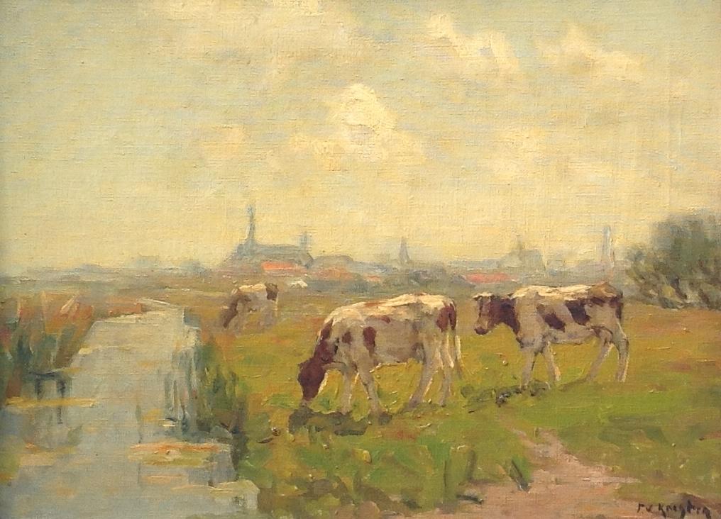 Kunstenaar Fedor van Kregten B8504, Fedor van Kregten Koeien in de weide olie op doek, 30 x 40 cm r.o. gesigneerd verkocht