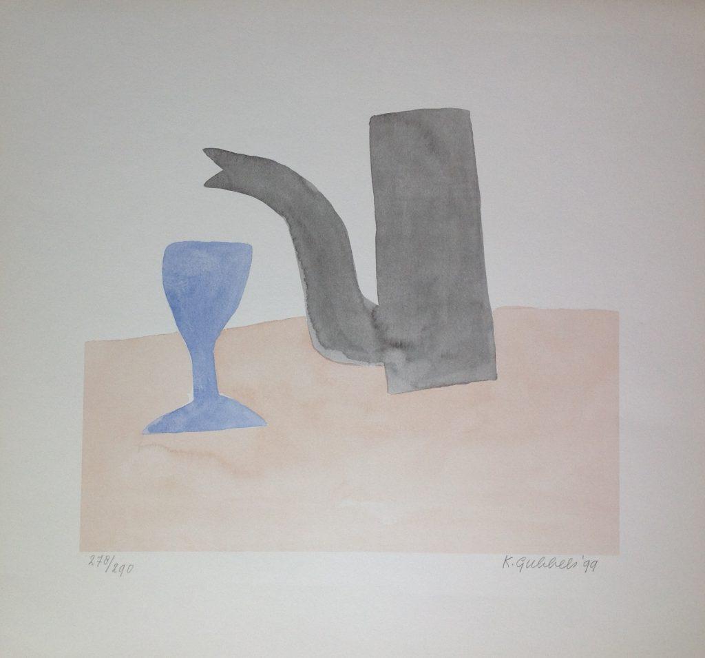 Kunstenaar Klaas Gubbels B8508 Klaas Gubbels Koffiekan en kopje litho, 52 x 48 cm r.o. gesigneerd en gedateerd '99 particuliere collectie voorheen te koop