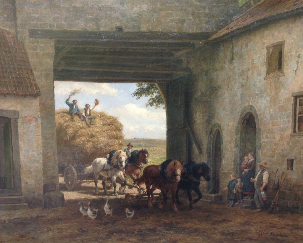 B8511 W.C. Nakken Paarden voor de hooiwagen Olie op doek, 80 x 100 cm r.o. gesigneerd, schilderijen te koop, klunst te koop, exposities, galerie wijdemeren breukeleveen