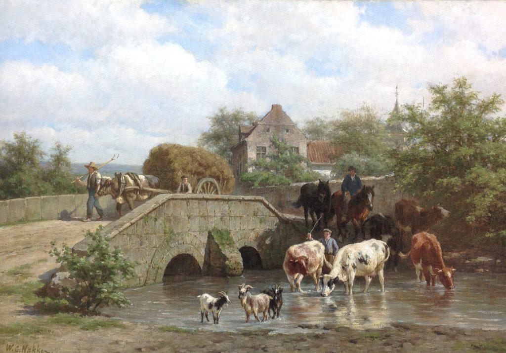 B8512 W.C. Nakken Olie op doek, 58 x 83.5 cm l.o. gesigneerd verkocht, schilderijen te koop, kunst te koop, exposities, galerie wijdemeren breukeleveen
