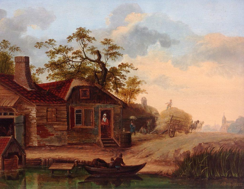 Schilderijen te koop van kunstschilder Albertus Brondgeest 'Bedrijvigheid bij de boerderij' olie op paneel, paneelmaat 32 x 41 cm. rechtsonder gesigneerd, Expositie Galerie Wijdemeren Breukeleveen