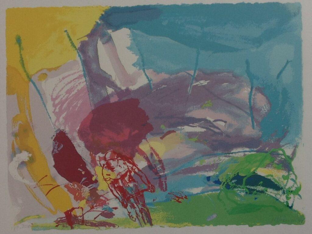 Kunstenaar Jan van Diemen B8742-4 Jan van Diemen Wielerwedstrijd litho, 69 x 89 cm oplage 178/200 r.o. handgesigneerd (uit een serie van 4)