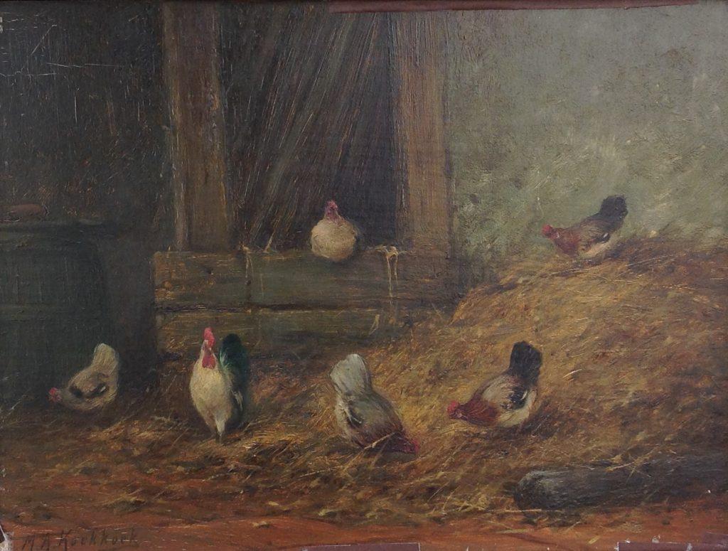Kunstenaar Marinus Adrianus Koekkoek II B8918, M.A. Koekkoek II, 'Kippen' Olie op doek beeldmaat: 26 x 36 cm Linksonder gesigneerd