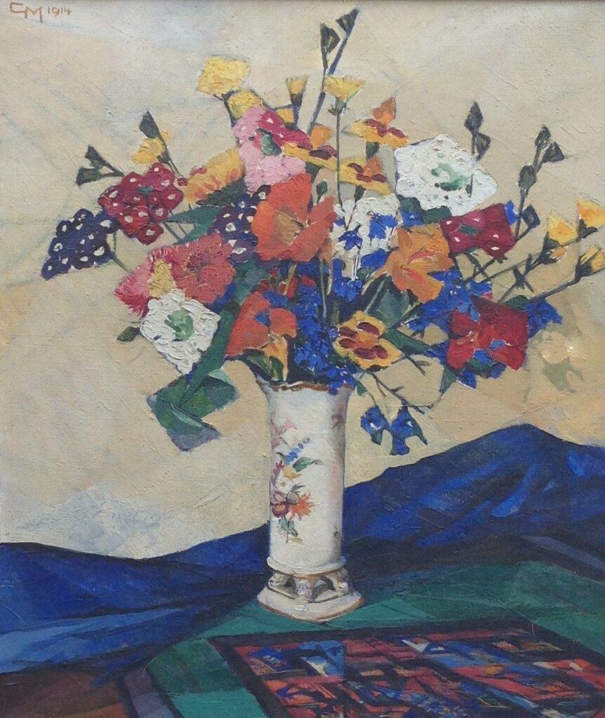 Kunstenaar Carola Machotka B9108, Carola Machotka Bloemstilleven olie op doek, 46 x 38 cm l.b. gemonogrammeerd