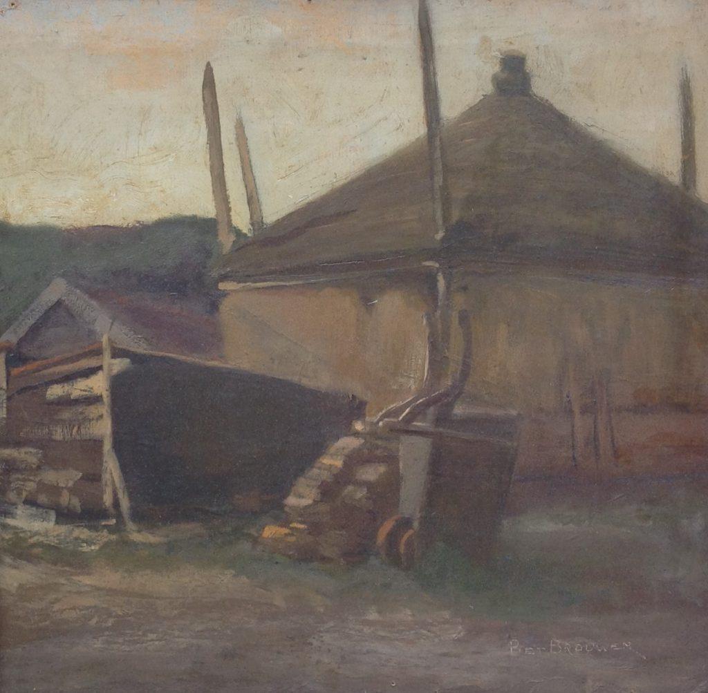 Kunstenaar Piet Brouwer B9018 Piet Brouwer Hooiberg in boerenlandschap olie op board, 31,5 x 32,5 cm r.o. gesigneerd verkocht