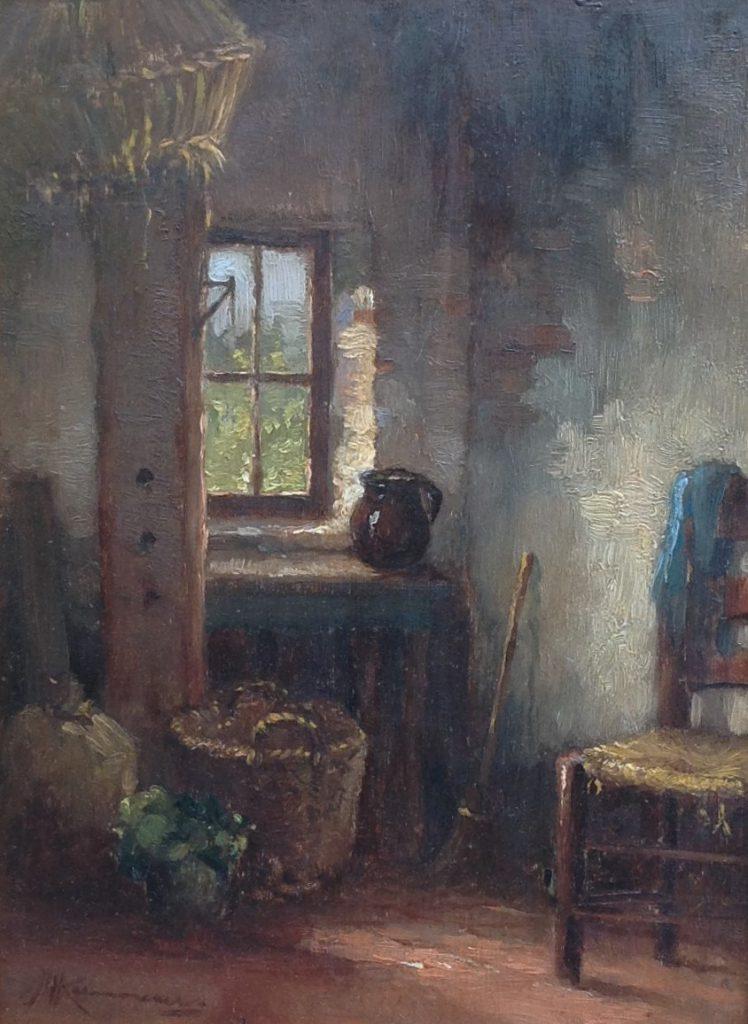 Schilderijen te koop van kunstschilder JH Kaemmerer interieurstukje olie op doek, gesigneerd, Expositie Galerie Wijdemeren Breukeleveen