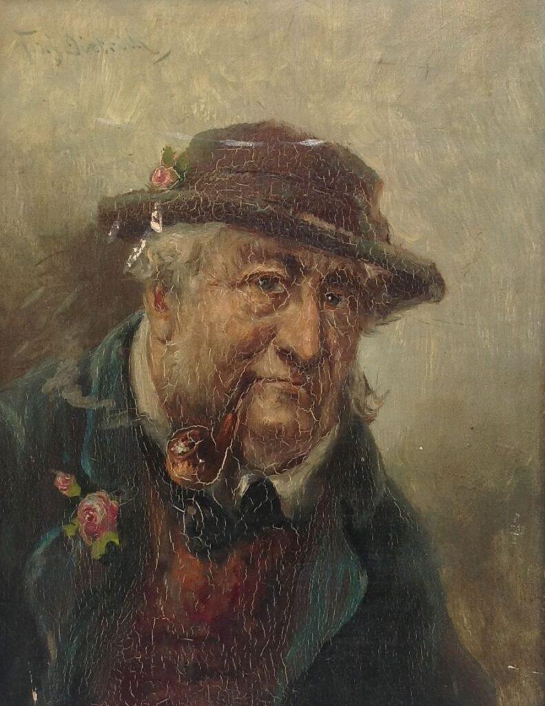Kunstenaar Franz Xaver Dietrich B9025, Franz Dietrich  Portret van een man met pijp, olie op paneel  linksboven gesigneerd  Verkocht