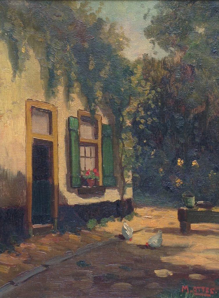 Schilderijen te koop van kunstschilder Arnout van Gilst Olie op doek, boerderij met kippetjes op erf gesigneerd rechtsonder M. Ottee, Expositie Galerie Wijdemeren Breukeleveen