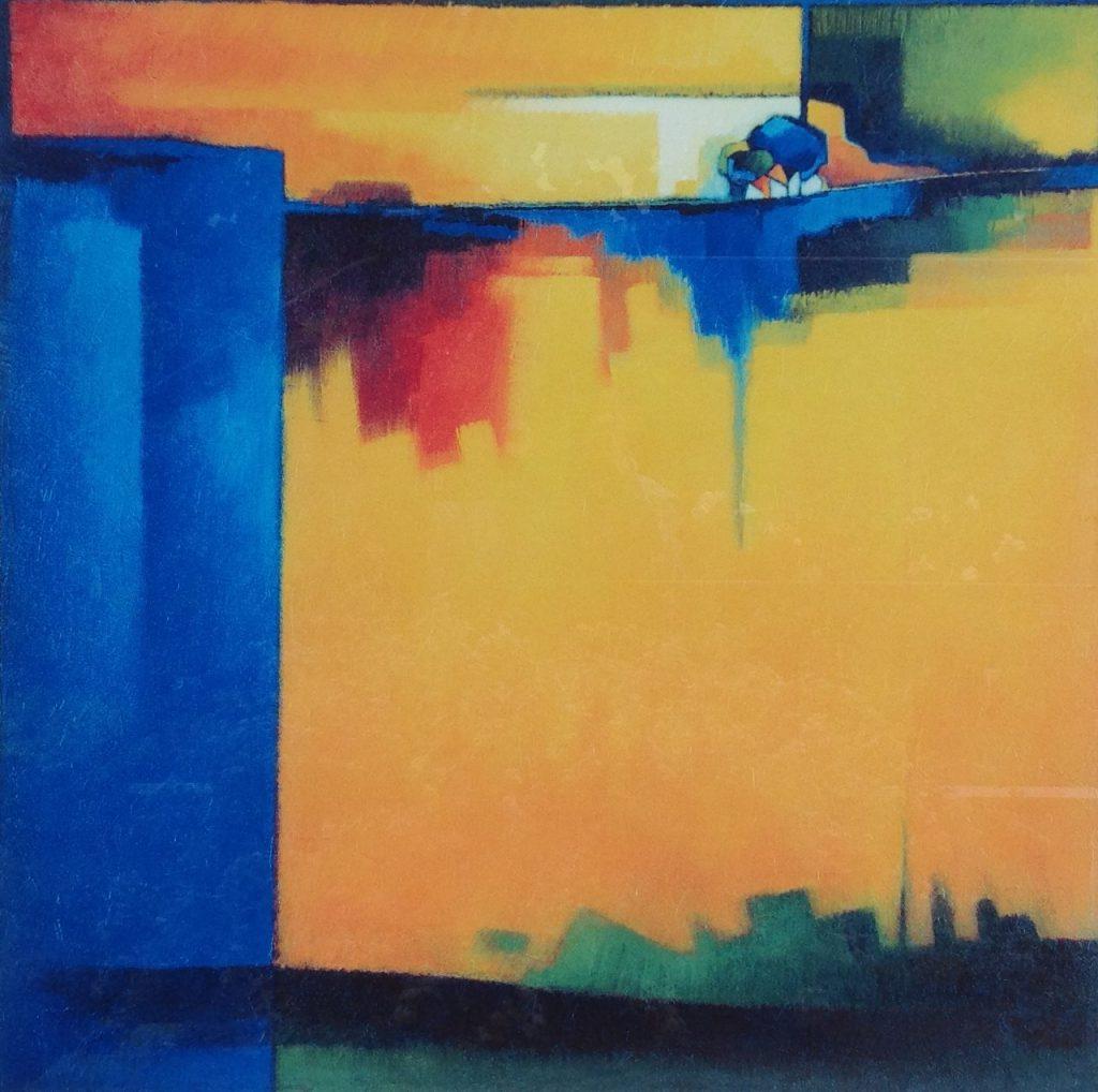 Kunstenaar Maria Megens B9051, Maria Megens Abstract Toscane Zeefdruk, 80 x 80 cm 1999, Oplage 86/90