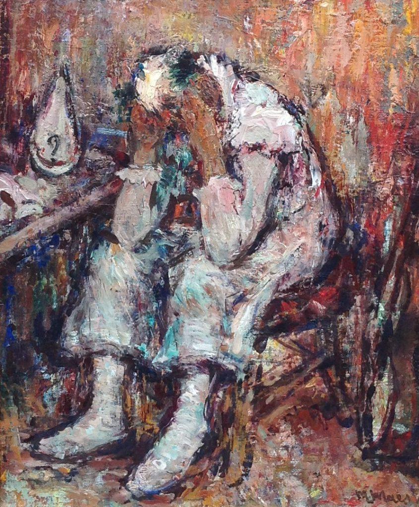 Kunstenaar Nicolaes Maes B9054, Nicolaes Maes Clown olie op doek, 40 x 50 cm particuliere collectie