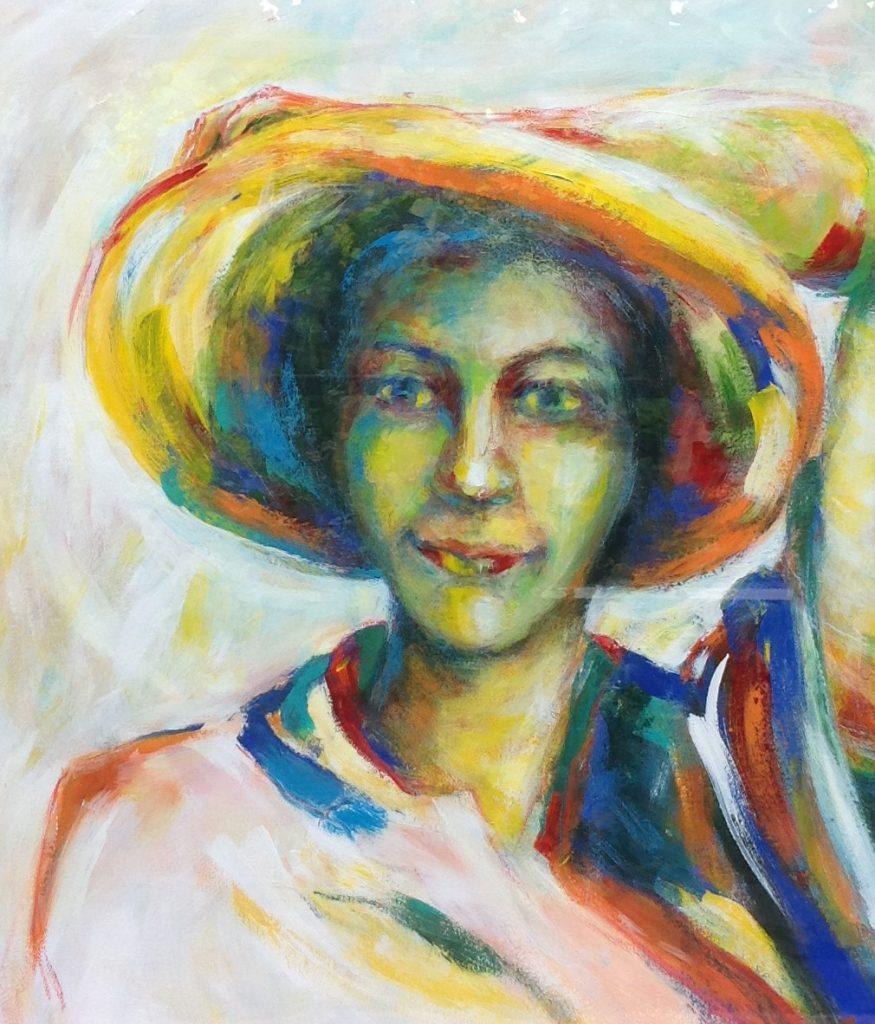 Kunst te koop bij Galerie Wijdemeren van kunstschilder Simea Horjus Portret Zomer acryl op papier, 72 x 61 cm