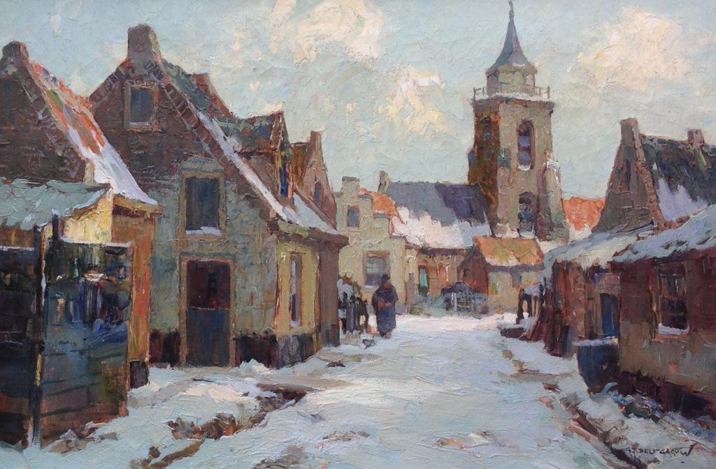 Schilderijen te koop van kunstschilder G.J. Delfgaauw Winters straatje olie op doek, gesigneerd, Expositie Galerie Wijdemeren Breukeleveen