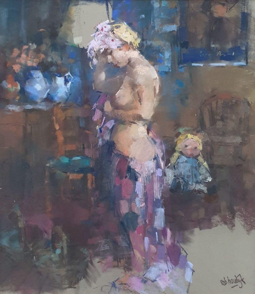 Kunst te koop bij Galerie Wijdemeren, Rob Houdijk Naakt pastel op papier, 78 x 69 cm rechtsonder gesigneerd