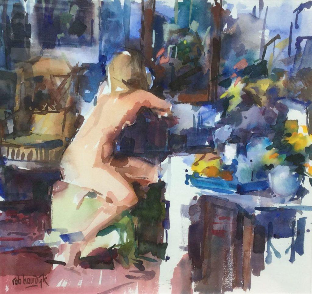 Schilderijen te koop van kunstschilder Rob Houdijk aquarel, beeldmaat 58 x 60 cm naakt linksonder gesigneerd, Expositie Galerie Wijdemeren Breukeleveen