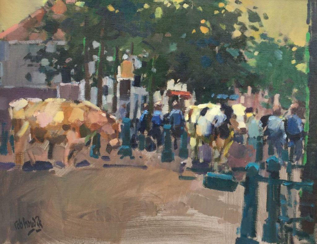 Schilderijen te koop van kunstschilder Rob Houdijk Purmerend, koeienmarkt olie op doek, doekmaat 55.5 x 70.5 cm linksonder gesigneerd, Expositie Galerie Wijdemeren Breukeleveen
