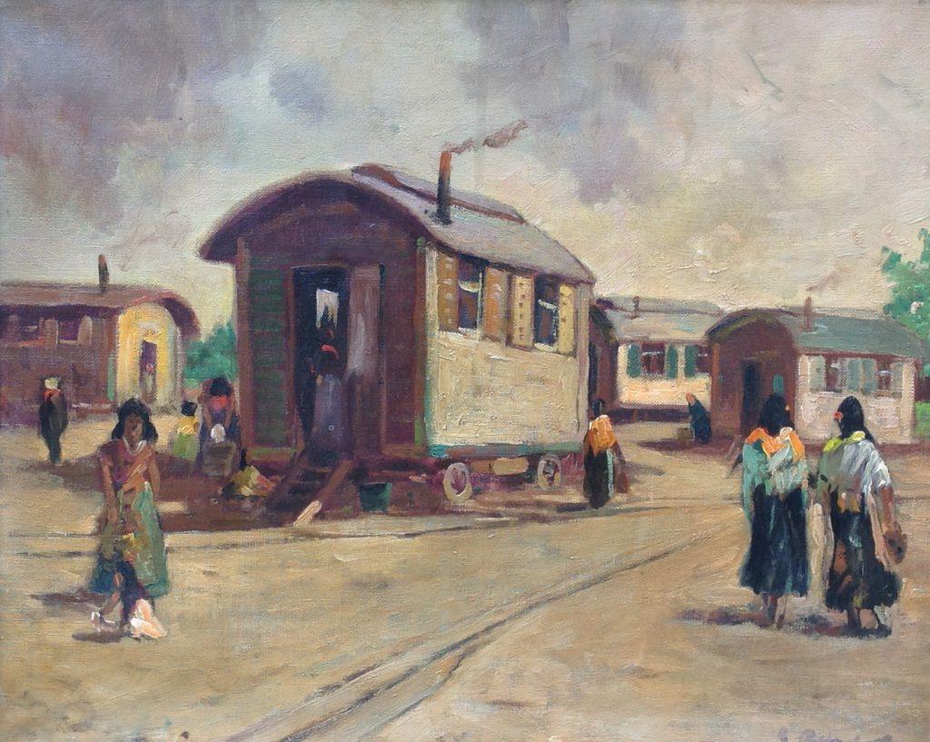 Kunstenaar Benno Randolfi B9226T, B. Randolfi Zigeuners olie op doek